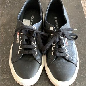 Superga black leather sneakers